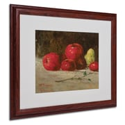 Trademark Gustave Courbet Apples and Pears Art, White Matte With Wood Frame, 16 x 20