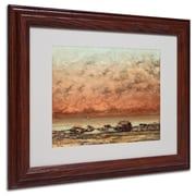 "Trademark Gustave Courbet ""Black Rocks at Trouville"" Art, White Matte With Wood Frame, 11"" x 14"""