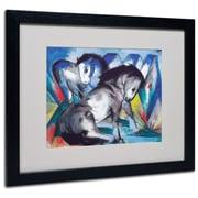 Trademark Franz Marc Two Horses 1913 Art, White Matte W/Black Frame, 16 x 20