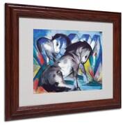 Trademark Franz Marc Two Horses 1913 Art, White Matte W/Wood Frame, 11 x 14