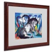 Trademark Franz Marc Two Horses 1913 Art, White Matte W/Wood Frame, 16 x 20