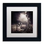 "Trademark Erik Brede ""Is There Anybody Out There"" Art, White Matte W/Black Frame, 11"" x 11"""