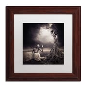 "Trademark Erik Brede ""Is There Anybody Out There"" Art, White Matte W/Wood Frame, 11"" x 11"""