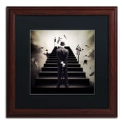 "Trademark Erik Brede ""Waiting for the Green Light"" Art, Black Matte W/Wood Frame, 16"" x 16"""