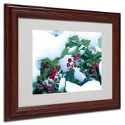"""Trademark Kurt Shaffer """"Holly in the Snow"""" Art, White Matte With Wood Frame, 11"""" x 14"""""""