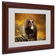 Trademark Lois Bryan Bear Went Over the Mountain Art, White Matte With Wood Frame, 11 x 14