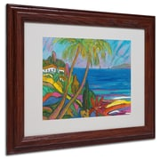 "Trademark Manor Shadian ""Blue Sea with 2 Boats"" Art, White Matte W/Wood Frame, 11"" x 14"""