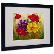 "Trademark Rio ""Flowers"" Art, White Matte With Black Frame, 16"" x 20"""