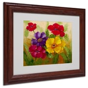 "Trademark Rio ""Flowers"" Art, White Matte With Wood Frame, 11"" x 14"""