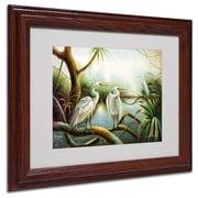 "Trademark Victor Giton ""Three Herons"" Art, White Matte With Wood Frame, 11"" x 14"""