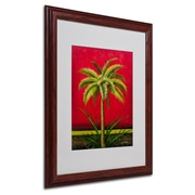 """Trademark Victor Giton """"Tropical Palm I"""" Art, White Matte With Wood Frame, 16"""" x 20"""""""