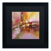 "Trademark Ricardo Tapia ""Soft Touch"" Canvas Art, Black Matte With Black Frame, 16"" x 16"""