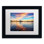 "Trademark David Ayash ""Caribbean Sunset"" Art, White Matte With Black Frame, 11"" x 14"""