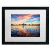 "Trademark David Ayash ""Caribbean Sunset"" Art, White Matte With Black Frame, 16"" x 20"""