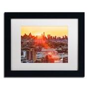 """Trademark David Ayash """"Midtown Sunset"""" Art, White Matte With Black Frame, 11"""" x 14"""""""