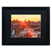 "Trademark David Ayash ""Midtown Sunset"" Art, Black Matte With Black Frame, 16"" x 20"""