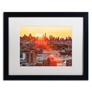 """Trademark David Ayash """"Midtown Sunset"""" Art, White Matte With Black Frame, 16"""" x 20"""""""
