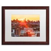 """Trademark David Ayash """"Midtown Sunset"""" Art, White Matte With Wood Frame, 16"""" x 20"""""""