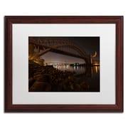 Trademark David Ayash Hells Gate Bridge and...NYC Art, White Matte With Wood Frame, 16 x 20