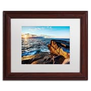 "Trademark David Ayash ""Sunrise Over the Atlantic in Maine"" Art, White Matte W/Wood Frame, 11"" x 14"""