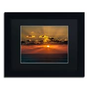 "Trademark David Ayash ""Mediterranean Sunset"" Art, Black Matte With Black Frame, 11"" x 14"""