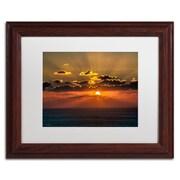 """Trademark David Ayash """"Mediterranean Sunset"""" Art, White Matte With Wood Frame, 11"""" x 14"""""""