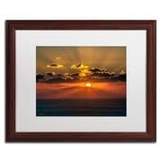 """Trademark David Ayash """"Mediterranean Sunset"""" Art, White Matte With Wood Frame, 16"""" x 20"""""""