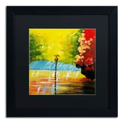 "Trademark Ricardo Tapia ""Rainy Day"" Canvas Art, Black Matte With Black Frame, 16"" x 16"""