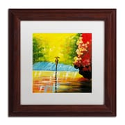 "Trademark Ricardo Tapia ""Rainy Day"" Canvas Art, White Matte With Wood Frame, 11"" x 11"""