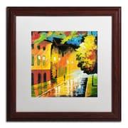 "Trademark Ricardo Tapia ""Street Light"" Canvas Art, White Matte With Wood Frame, 16"" x 16"""