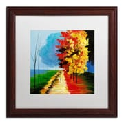 "Trademark Ricardo Tapia ""Walk in the Park"" Canvas Art, White Matte W/Wood Frame, 16"" x 16"""