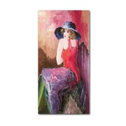Trademark Rosario Tapia Woman with Blue Hat Gallery-Wrapped Canvas Art, 10 x 19