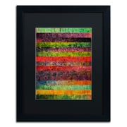 Trademark Michelle Calkins Brocade and Stripes 1 Art, Black Matte With Black Frame, 16 x 20
