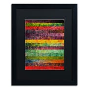 Trademark Michelle Calkins Brocade and Stripes 2 Art, Black Matte With Black Frame, 16 x 20