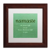 "Trademark Michelle Calkins ""Namaste with Blue Waves"" Art, White Matte With Wood Frame, 11"" x 11"""