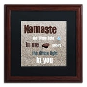 """Trademark Michelle Calkins """"Namaste with Pebble..."""" Art, Black Matte With Wood Frame, 16"""" x 16"""""""