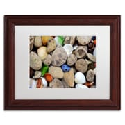 Trademark Michelle Calkins Petoskey Stones lll Art, White Matte With Wood Frame, 11 x 14