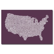 "Trademark Michael Tompsett ""US City Map IV"" Gallery-Wrapped Canvas Art, 22"" x 32"""