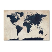 "Trademark Michael Tompsett ""World Map-Navy"" Gallery-Wrapped Canvas Art, 22"" x 32"""
