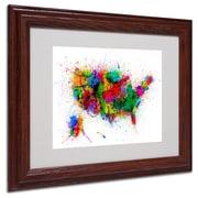 """Trademark Michael Tompsett """"US Paint Splashes"""" Art, White Matte W/Wood Frame, 11"""" x 14"""""""