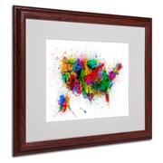 """Trademark Michael Tompsett """"US Paint Splashes"""" Art, White Matte W/Wood Frame, 16"""" x 20"""""""