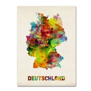 """Trademark Michael Tompsett """"Germany Watercolor Map"""" Gallery-Wrapped Canvas Art, 35"""" x 47"""""""