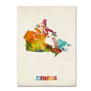 "Trademark Michael Tompsett ""Canada Watercolor Map"" Gallery-Wrapped Canvas Arts"