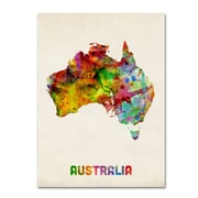 "Trademark Michael Tompsett ""Australia Watercolor Map"" Gallery-Wrapped Canvas Art, 24"" x 32"""