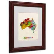 "Trademark Michael Tompsett ""Australia Map"" Art, White Matte W/Wood Frame, 11"" x 14"""