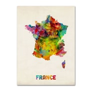 """Trademark Michael Tompsett """"France Watercolor Map"""" Gallery-Wrapped Canvas Art, 18"""" x 24"""""""
