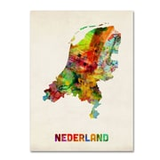 "Trademark Michael Tompsett ""Netherlands Watercolor Map"" Gallery-Wrapped Canvas Art, 18"" x 24"""