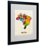 """Trademark Michael Tompsett """"Brasil Watercolor Map"""" Art, White Matte W/Black Frame, 16"""" x 20"""""""