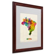 "Trademark Michael Tompsett ""Brasil Watercolor Map"" Art, White Matte W/Wood Frame, 16"" x 20"""