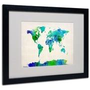 """Trademark Michael Tompsett """"World Map Watercolor"""" Art, White Matte W/Black Frame, 16"""" x 20"""""""